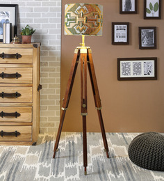 Ethnic Roots Yellow & Green Cotton Floor Lamp - 1566728