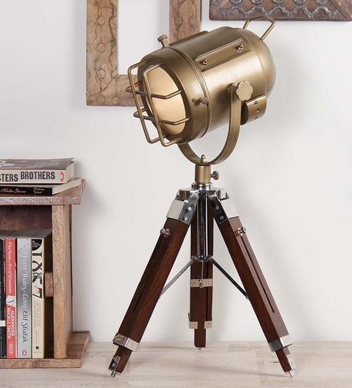 Ethnic Roots Brass Finish Brown Metal Table Tripod Lamp - 1351216