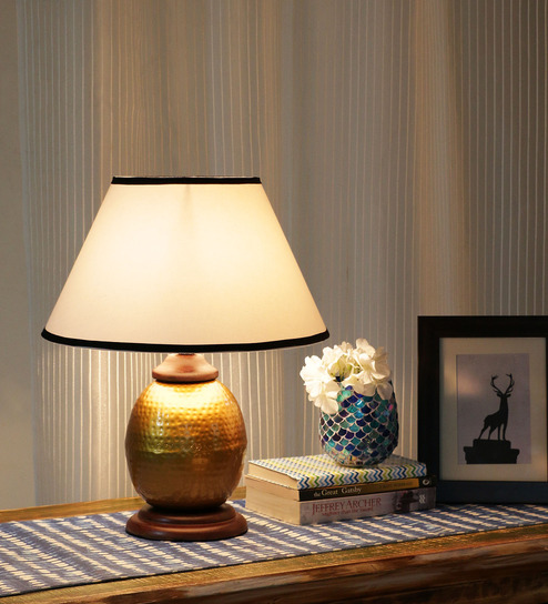 Ethnic Roots Gold And White Metal Contemporary Table Lamp - 1408677