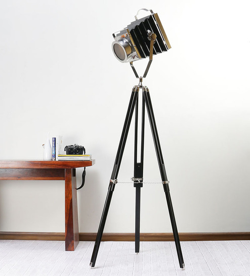 Ethnic Roots Nickel Black Metal Floor Tripod Lamp - 1351136