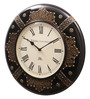Ethnic Clock Makers Black MDF & Metal 16 Inch Round Copper Stone Handmade Wall Clock