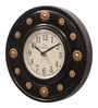 Ethnic Clock Makers Brown MDF & Metal 10 Inch Round Brass Flower Handmade Wall Clock