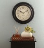 Ethnic Clock Makers Brown MDF & Metal 12 Inch Round Polish Handmade Wall Clock