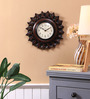 Ethnic Clock Makers Brown Metal & MDF 12 Inch Round Carved & Polish Wall Clock