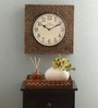 Ethnic Clock Makers Gold MDF & Metal 12 Inch Round Carved Brass Handmade Wall Clock