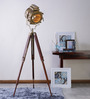 Ethnic Roots Sheesham Wood & Brass Finish Tripod Floor Lamp