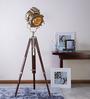 Ethnic Roots Sheesham Wood & Brass Finish Tripod Floor Lamp