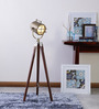 Ethnic Roots Sheesham Wood & Brown Finish Tripod Floor Lamp