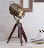 Ethnic Roots Brown Brass Finish Teak Wood Tripod Table Lamp