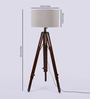 Ethnic Roots Mango Wood & Beige Color Tripod Floor Lamp