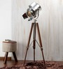 Ethnic Roots Nickel & Silver Mango Wood Tripod Floor Lamp