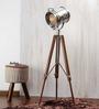 Ethnic Roots Nickel Finish Silver Metal Floor Tripod Lamp
