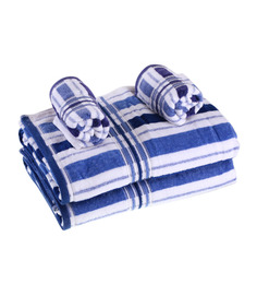 Eurospa Velour Blue Cotton Towel Sets - Set of 4