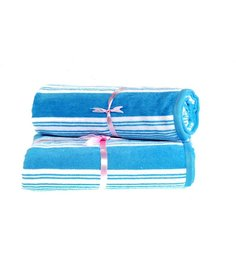 Eurospa Canvas Stripes Blue Cotton Bath Towel - Set of 2