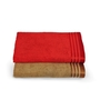 Eurospa Multicolour 100% Cotton 22 x 44 Bath Towel - Set of 2