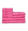 Eurospa Pink 100% Cotton Bath, Hand and Face Towel - Set of 10