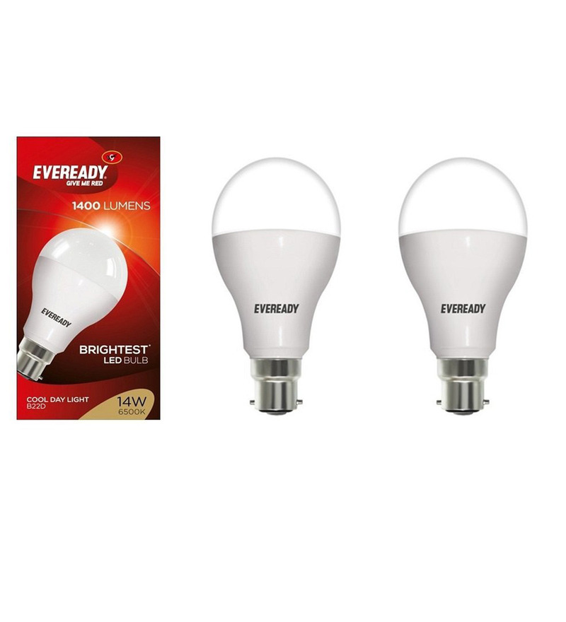 Eveready Cool Day Light White 14W LED Bulb - Set of 2  available at Pepperfry for Rs.709