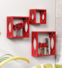 Everlast Eclectic Wall Shelves Set of 3 in Red by Bohemiana