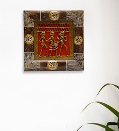 ExclusiveLane Red & Brown Mango Wood & Brass Dhokra Work & Warli Wall Hanging