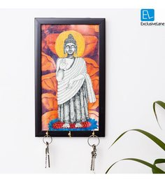 Exclusivelane Multicolour Canvas & MDF Lord Buddha Canvas Hand Painted Key Holder