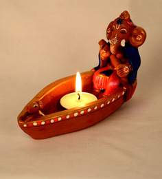 ExclusiveLane Brown Terracotta Ganesha Boat Diya