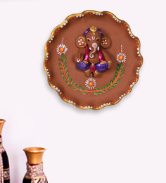 ExclusiveLane Brown Terracotta Hand-painted Round Plate Ganesha Wall Decor