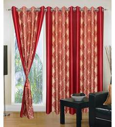 Exporthub Deep Reds Fancy Eyelet Door Curtain (Set Of 3)