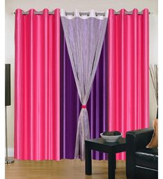 Exporthub Beautiful Fancy Eyelet Door Curtain (Set Of 4)- Pink And Purple