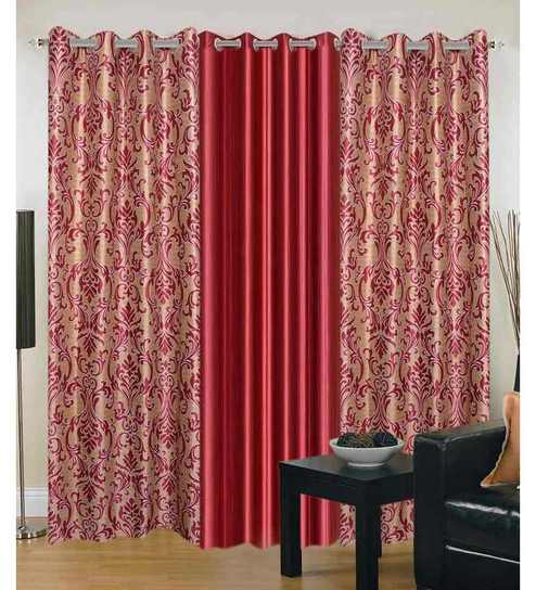 Exporthub Beautiful Fancy Eyelet Door Curtain (Set Of 3)- Printed And Plain