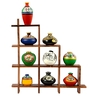 ExclusiveLane Multicolour Sheesham Wood Frame with Terracotta Warli Handpainted Pots
