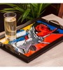 Exclusivelane Abstract Canvas Handpainted Running Horses Multicolour MDF Tray