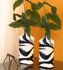 Exclusivelane Black & White Glass Warli Art Hand Painted Vase - Set of 2