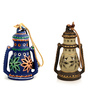 Exclusivelane Blue & Grey Terracotta Lanterns - Set of 2