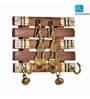 Exclusivelane Brown Sheesham Wood & Brass Warli Art & Dhokra Hand painted Key Holder with Ghungroo