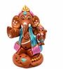 Exclusivelane Brown Terracotta Hand Painted Baby Holding Ganesha