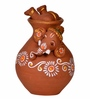 Exclusivelane Brown Terracotta Hand Painted Matki Inside Out Baby Ganesha
