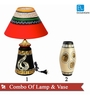 ExclusiveLane Red & Golden Terracotta 2-piece Table Lamp & Vase Set