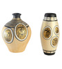Exclusivelane Cream & Black Terracotta Hand-Painted Vase - Set of 2