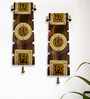 ExclusiveLane Brown Mango Wood & Brass Dhokra & Warli Wall Hanging - Set of 2