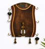 Exclusivelane Brown Mango Wood & Brass Dhokra Figurine Madhubani Hand painted Vertical Key Holder