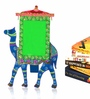 Exclusivelane Green & Blue Recycled Wood 9 x 0.5 x 12.2 Inch Hand Painted Camel Photo Frame