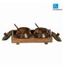 ExclusiveLane Brown Sheesham Wood 280 ML Jar - Set of 2
