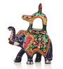 Exclusivelane Multicoloured Metallic Meenakari Elephant Showpieces- Set of 3