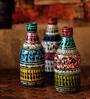Exclusivelane Multicolour Glass Bottle Shaped Decorative Vases - Set of 3