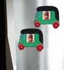 Exclusivelane Multicolour Recycled Wood Hand Painted Auto Fridge Magnet Cum Photo Frame - Set of 2
