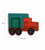 Exclusivelane Multicolour Recycled Wood Hand Painted Truck Fridge Magnet Cum Photo Frame - Set of 2