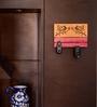 Exclusivelane Orange & Pink Steam Beech Wood Hand Carving Key Holder