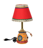 Exclusivelane Red & White Cloth Table Lamps - Set of 2