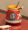Exclusivelane Red Terracotta Warli Hand Painted Pen Stand
