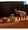 Exclusivelane Royal Blue Metal Hand Enamelled Meenakari Elephant Family Showpieces